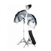 FAN028 (комплект импульсного света: вспышка SF-45M (45Дж) - 2шт., стойка FAN803 (до 200см) - 2шт., зонт UR02 на отражение - 2шт., патрон LH-27SU - 2шт., сумка FAN642 - 1шт.)