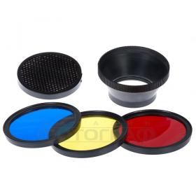 Фильтры для ведомых вспышек MFA-HC (комплект из 4-х цветных фильтров и сотовой насадки для ведомых вспышек Falcon Eyes серии MF)