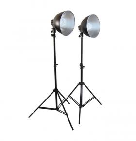 PS02 Fluorescent Kit (комплект постоянного света: 2 компактных осветителя PS02 с отражателями и люминесцентными лампами FAN636 28W/E27 каждый (всего 2 лампы в комплекте), 2 стойки FAN807)